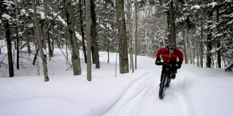 fat bike snow covered singletrack