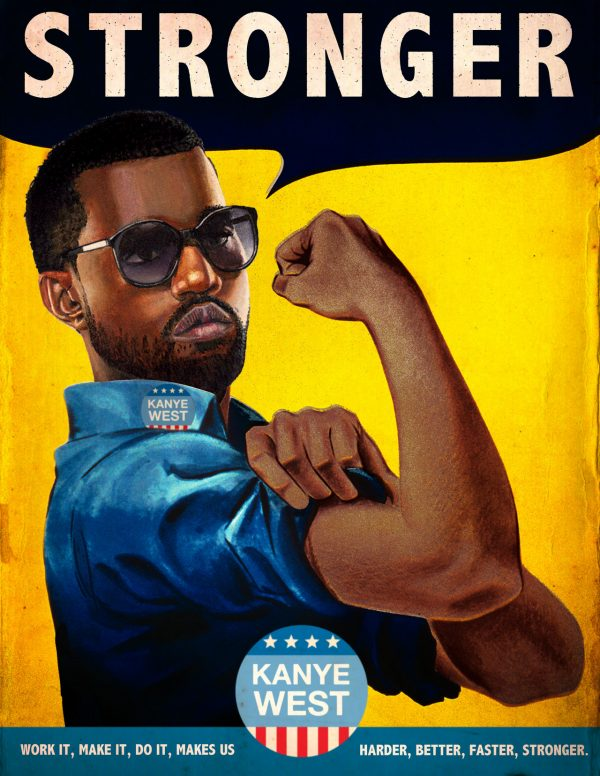 Kanye west vintage propoganda ad parody by david redon for Garage ad redon