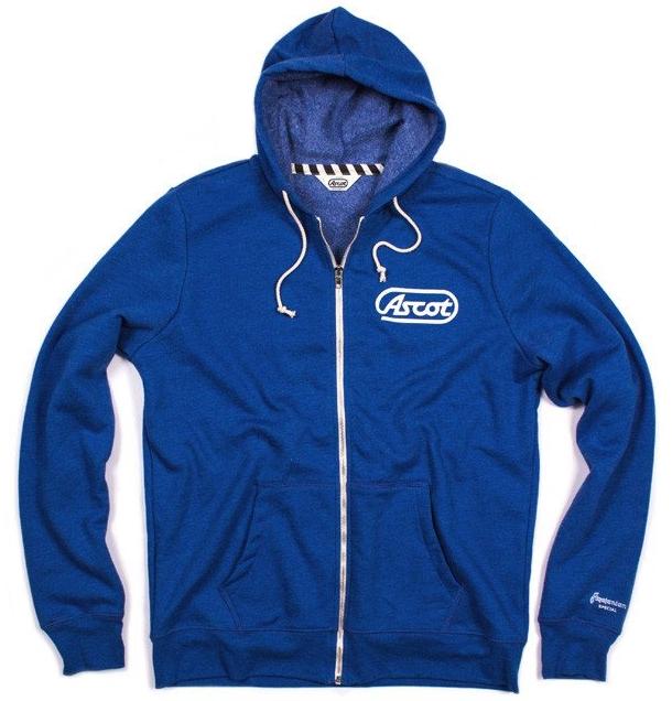 ascot motorsports zip up hoodie blue