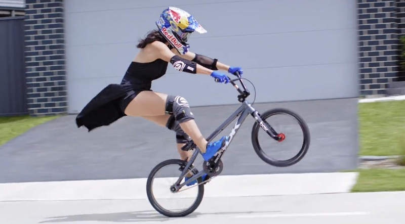 Saya-Sakakibara-bmx in dress