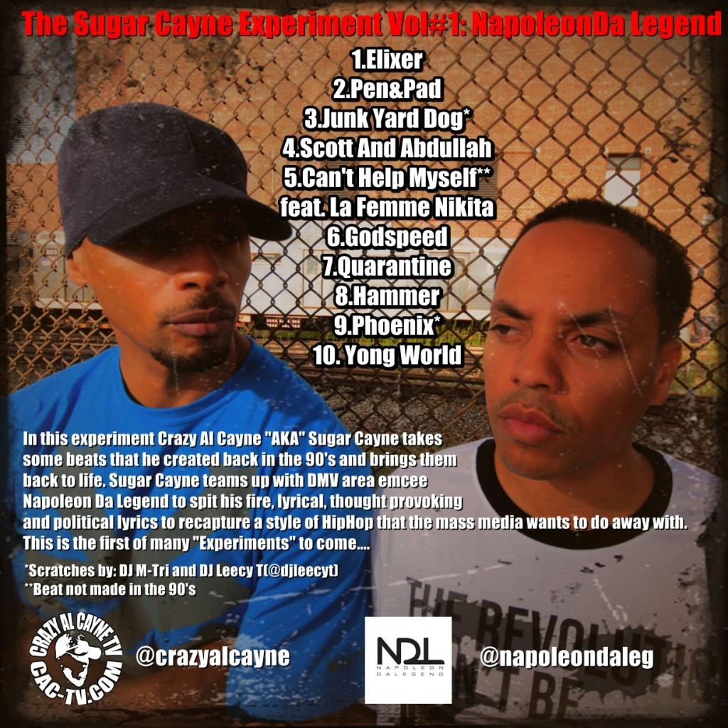 Back CD Cover, Sugar Cayne Experiment