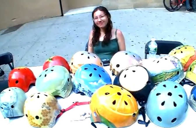 Belle Helmets, hand painted skateboard helmets