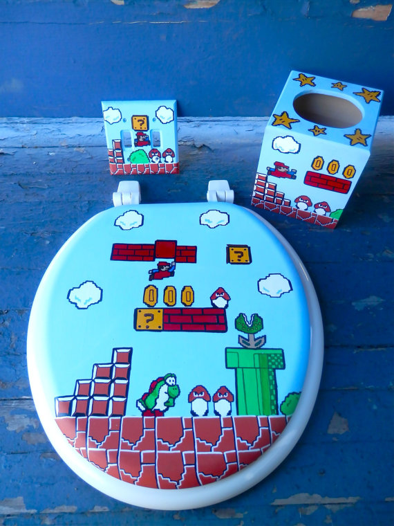 Mario Bros hand painted Toilet seat