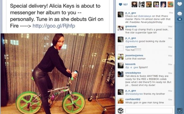 alicia keys on a Haro Master BMX