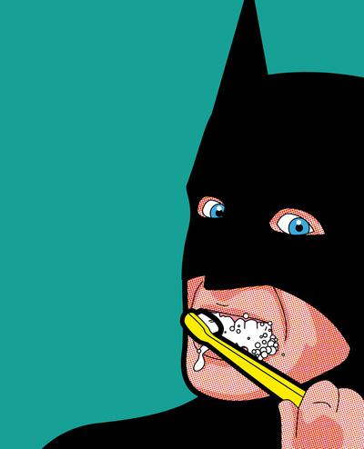Batman brushing teeth