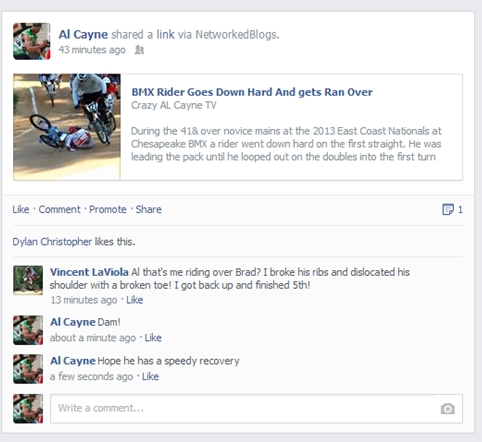 rider down facebook update