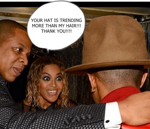 beyonce, pharrell, jay-z ugly hat