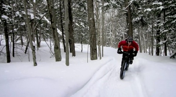 fat bike snow covered singletrack