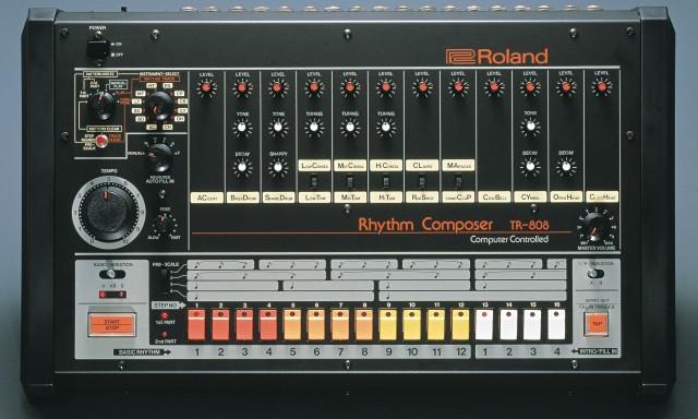 TR-808 Roland drum machine.