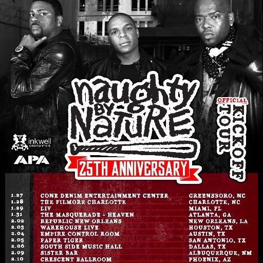 Naughty By Nature 25th anniversary tour flyer