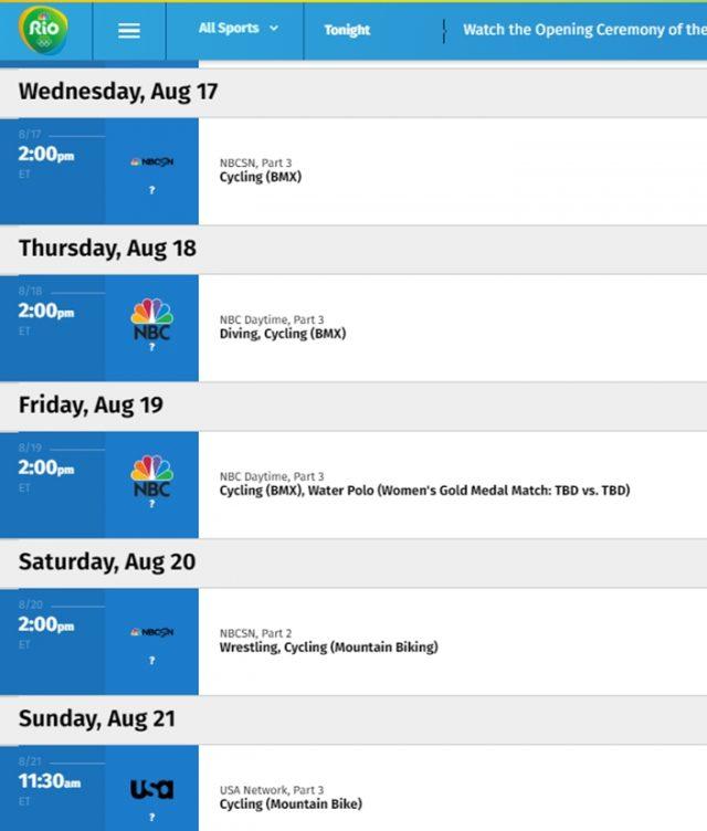 Rio BMX, MTB Olympic Schedule