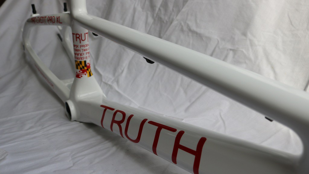 truth bmx carbon white side top tube