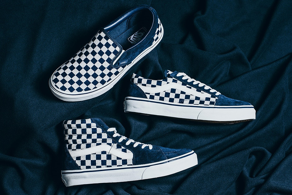 vans checkerboard slip on dress blue old gold