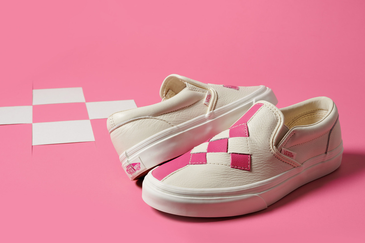 vans-woven-checkerboard-slip-on pink