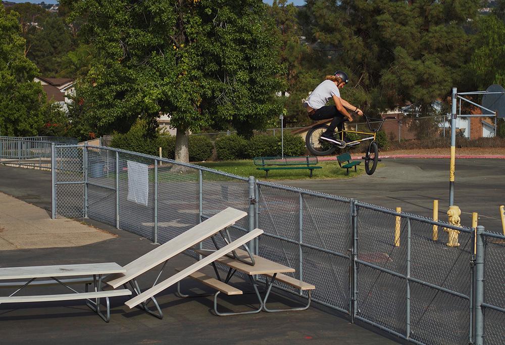 Parker Heath toboggan over fence