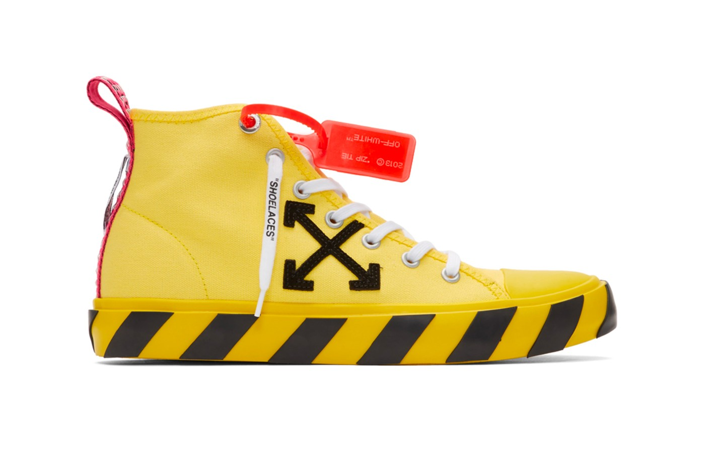 off white, yellow sneaker