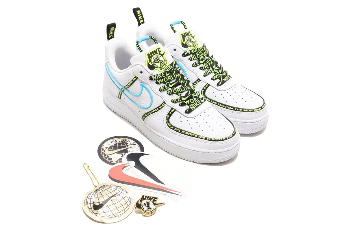 nike air force 1 worldwide pack gs bianco giallo