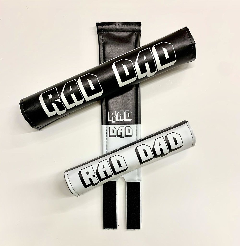 black x white rad dad bmx pads