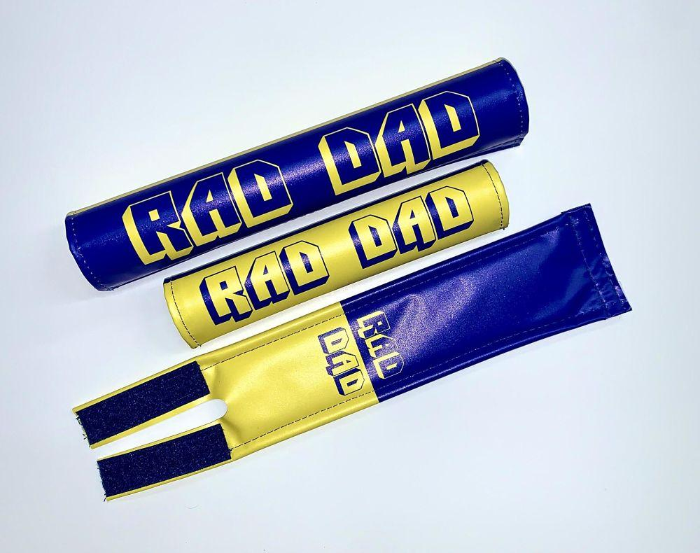 blue yellow rad dads pad set bmx